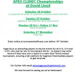 Apex Clinic Junior Championships 2019