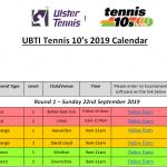 UBTI Tennis 10's Events Autumn 2019