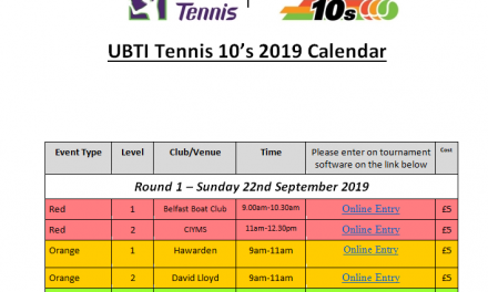 UBTI Tennis 10's Events Autumn 2019